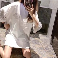 Woman Casual Fashion Letter Personality Solid Color Wings Diamond Printing Loose Large Size Short Sleeve T-Shirt Tops