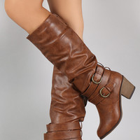 Buckled Chunky Heeled Slouchy Knee High Boots