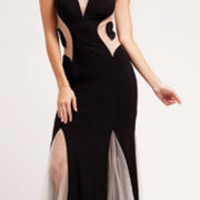 Black Paneled Mesh Fitted Long Dress Prom 2015