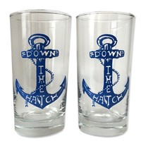 Down the Hatch Anchor Drinking Glasses (Set of 2)