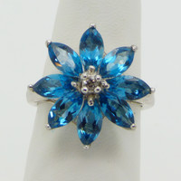 Sterling Silver Genuine Blue White Topaz Marquise Cut Flower Ring