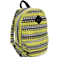 Black and Mustard Yellow Tribal Print Backpack