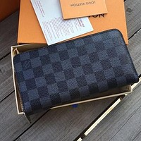 Louis Vuitton LV Classic Women Leather Zipper Wallet Purse Clutch Bag Black