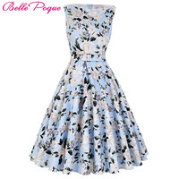 2017 Summer Women Dress Audrey Hepburn Vestidos Sleeveless Polka Dot Floral Print Clothing Cotton 50s Casual Rockbilly Dresses