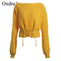 Oxdra Pullovers Sweater Loose Solid Sweaters Warm Knit Slash Neck Elegant Lace up Women's Clothing 2018 Autumn Winter Hot Top