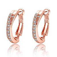 18k gold plated earings jewelry Crystal Arch clip brincos de festa Costume Jewellery 369