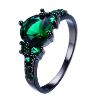 Vintage 8mm Green Jewelry Women Wedding Ring anel Retro Black Gold Filled Green CZ Fashion Engagement Band Rings RB0064