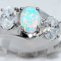 2 Carat Opal With Zirconia Ring .925 Sterling Silver Rhodium Finish White Gold Quality