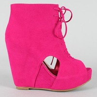 Camilla-2 Lace Up Peep Toe Wedge Bootie
