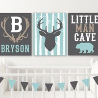DEER Antler NURSERY DECOR, Baby Boy Deer Nursery Wall Decor, Little Man Cave Bear Canvas or Print, Boy Name Rustic Deer Nursery Set of 3 Art