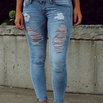 All Distressed Skinny Jeans