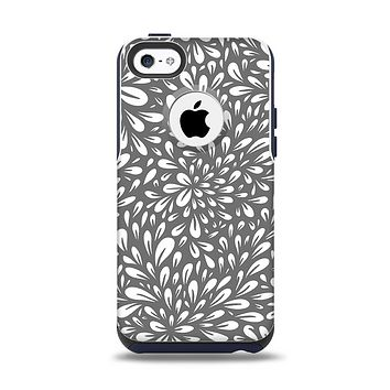 The Gray & White Floral Sprout Apple iPhone 5c Otterbox Commuter Case Skin Set