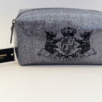 NWT Juicy Couture Coated Glitters Small Cosmetic Bag in Silver