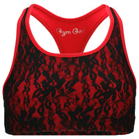 Lace Sports Bra in Red Hot