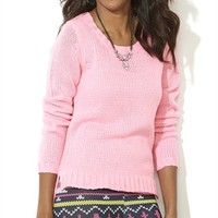 Washed Neon Long Sleeve Sweater with High Low Split Hem