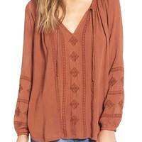 Amuse Society 'Caprice' Embroidered Peasant Top | Nordstrom
