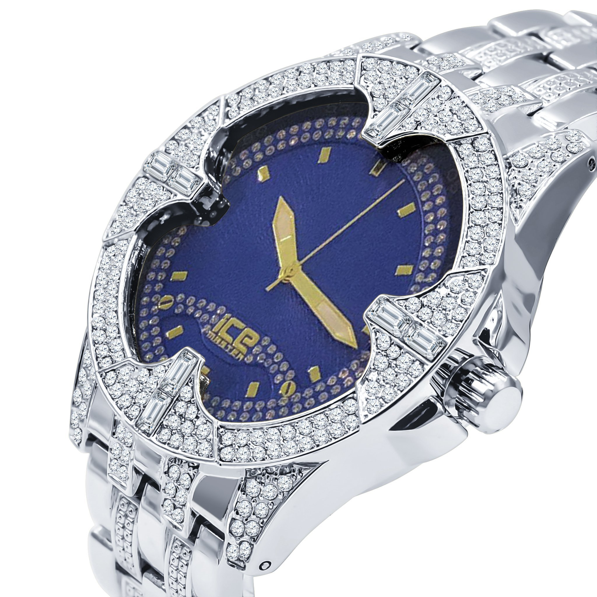 Image of ICE MASTER  SOLITUDE SILVER/BLUE CZ WATCH