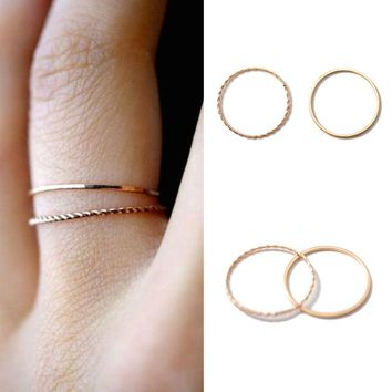 2PCS/Set Thin slim rose gold stacking knuckle ring set small finger MIDI finger ring simple design jewelry ring for women#279039