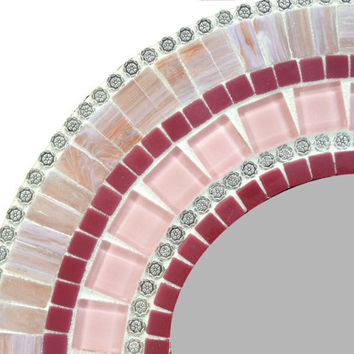 Round Pink Wall Mirror - Nursery Decor - Mosaic Mirror