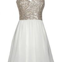 White One Shoulder Dress with Sequin Top&Chiffon Skirt
