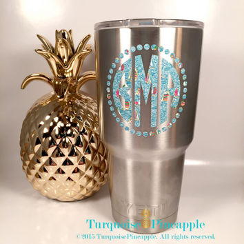 Yeti Decal / Monogram Decal / Yeti Rambler / Yeti Monogram / Yeti Personalized / Custom Yeti Cup / Personalized Yeti Lilly Pulitzer