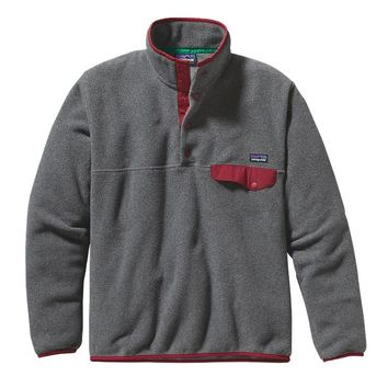 Patagonia Men's Lightweight Synchilla® Recycled Fleece Snap-T® Pullover | Nickel w/Wax Red