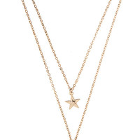 Detachable Moon and Star Pendant Necklace - Gold