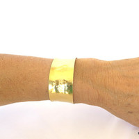Gold hammered cuff, one inch wide artisan cuff, boho chic gift for her