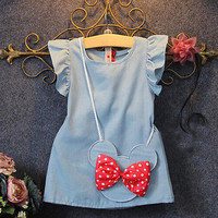 2016 Baby Toddlers Kids Girl Solid Dress Minnie Mouse Sleeveless Bag Ruffles Demin Casual Dresses 1-5Y