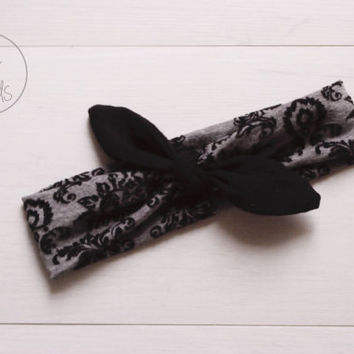 Grey Damask Top Knot Headband with BLACK Bow Headband Knot Toddler Headband Head Wrap Baby Bow Headband Newborn Knot Headband