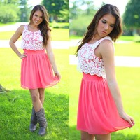 Over The Top Dress in Coral
