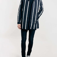 Navy Stripe Hooded Mac - Topman