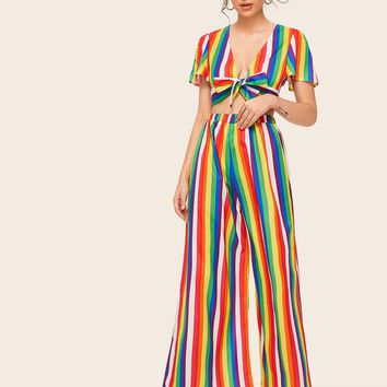 Rainbow Striped Tie Front Crop Top With Wide Leg Pants
