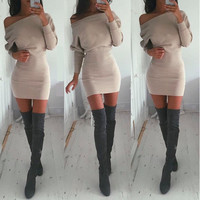 Casual Off Shoulder Batwing Long Sleeve Bodycon Mini Dress