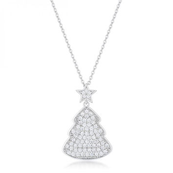 Clear Christmas Tree Drop Necklace