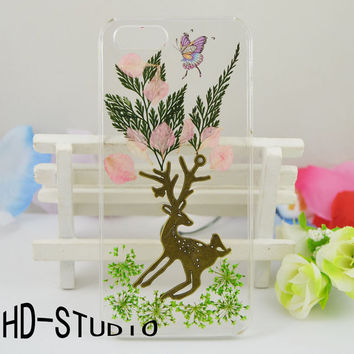Pressed flower iphone 6 case, real flower iphone 6/ 6s Plus case, pressed flower iphone 5 /5c / 4 case - green leaf and deer