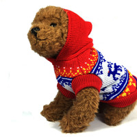 Red Nordic Reindeer Dog Sweater