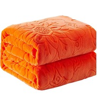 Beddowell Solid warm blanket Soft Embossed Coral Fleece Blankets on bed for adults kids Rectangle queen king orange Blankets