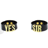 "HARLEY QUINN ""YES SIR"" Cuff Bracelets Pair - Skinny Letters - Gold"