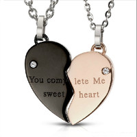 Heart Shape Necklaces for Couples-you complete me sweet heart