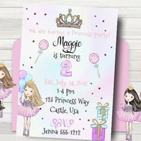 Princess Birthday Party Invitation - CUSTOMIZED Princess Invitation - PRINTABLE - First Birthday Invitation - Princess Party