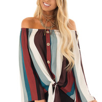 Multi Color Striped Off the Shoulder Top with Button Detail