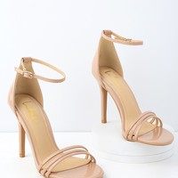 Iva Nude Patent Ankle Strap Heels