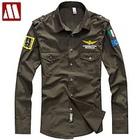 Fashion Casual Man Mens Long sleeve Shirt embroidery Air Force Cotton Shirts For Men