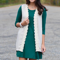 Lace Trimmed Vest with Pockets {Taupe}