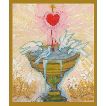 "Source of Grace – by Sue Kouma Johnson – 8.5x11"" – Catholic Art Print. New!"