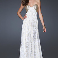 White & Gold Evening Gown by La Femme