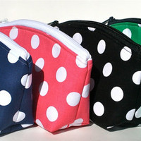 Polka Dot Makeup Bag/Zippered Pouch Padded Flat Bottom Arched Round Top