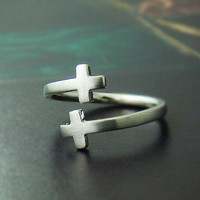 Sideway Double Cross Knuckle Ring Simple Adjustable Ring Jewelry gift idea Free size