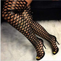 Sexy Peep Toe Cut Out Gladiator Over The Knee High Heels
